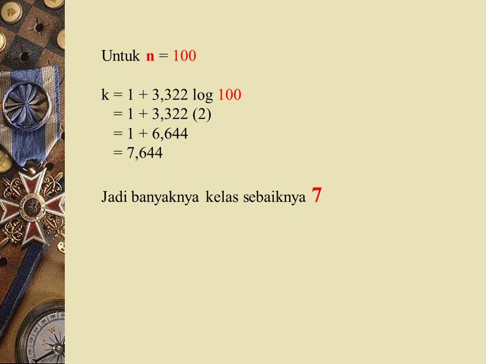 Untuk n = 100 k = 1 + 3,322 log 100. = 1 + 3,322 (2) = 1 + 6,644.