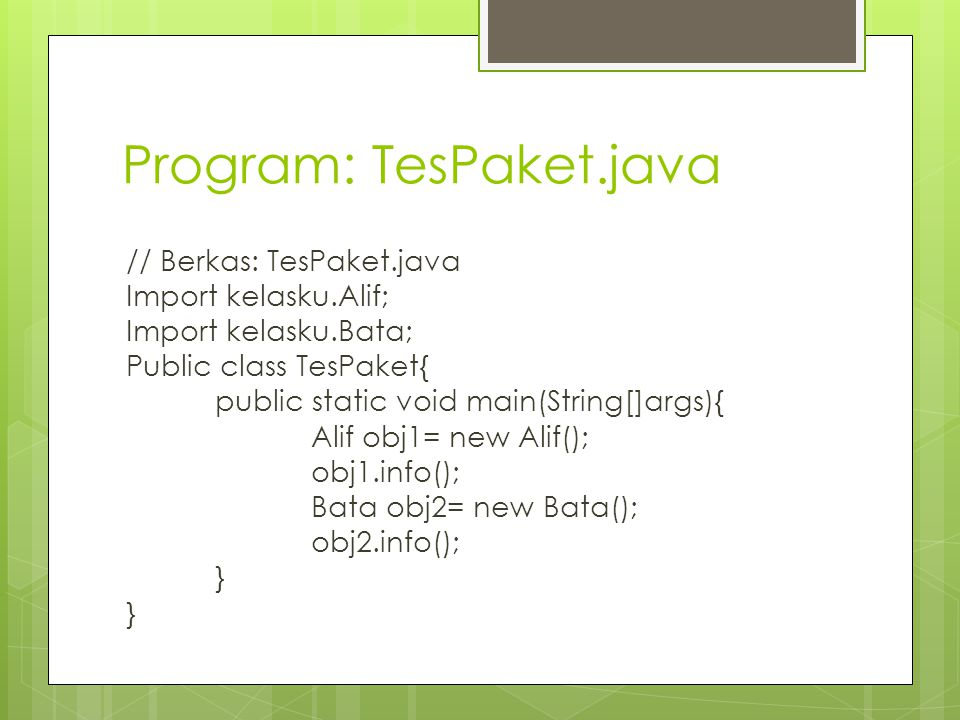Program: TesPaket.java