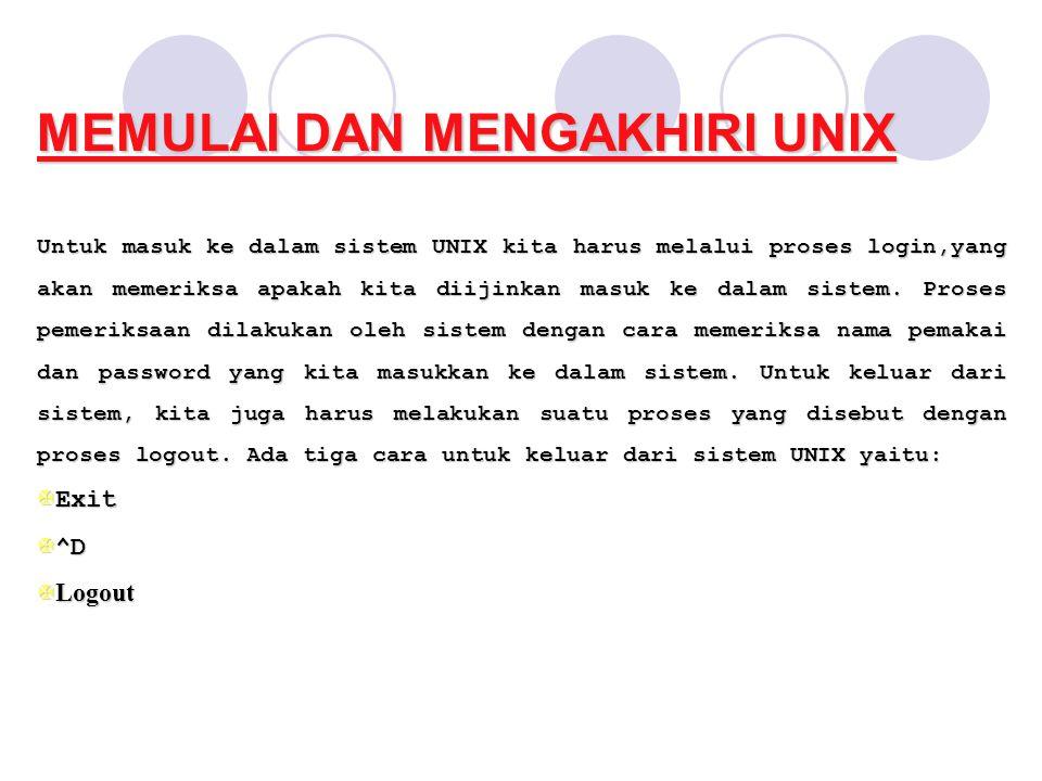 MEMULAI DAN MENGAKHIRI UNIX