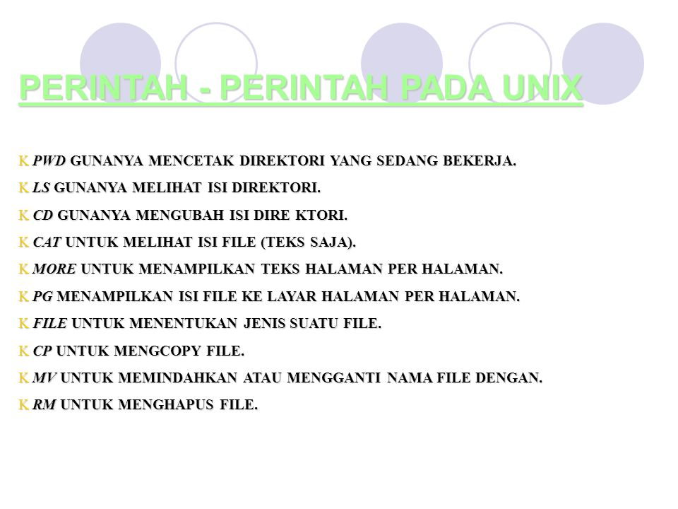 PERINTAH - PERINTAH PADA UNIX