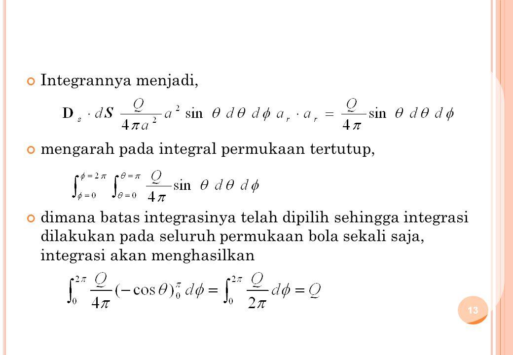 Integrannya menjadi, mengarah pada integral permukaan tertutup,
