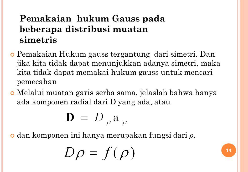 Pemakaian hukum Gauss pada beberapa distribusi muatan simetris