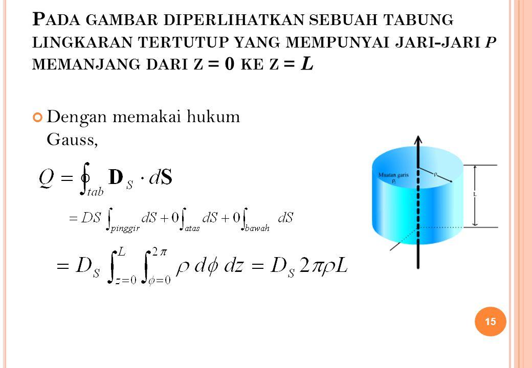 Dengan memakai hukum Gauss,