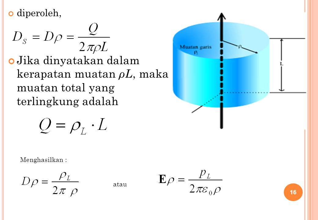 diperoleh, Jika dinyatakan dalam kerapatan muatan ρL, maka muatan total yang terlingkung adalah.