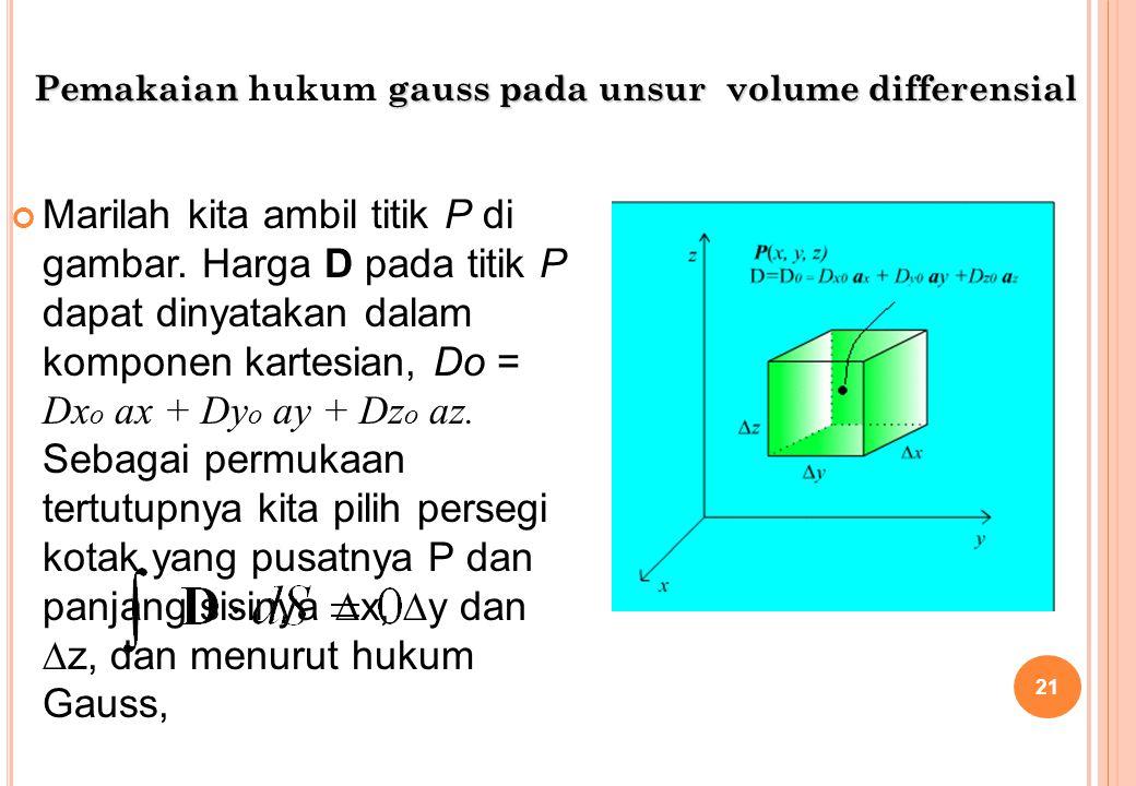 Pemakaian hukum gauss pada unsur volume differensial