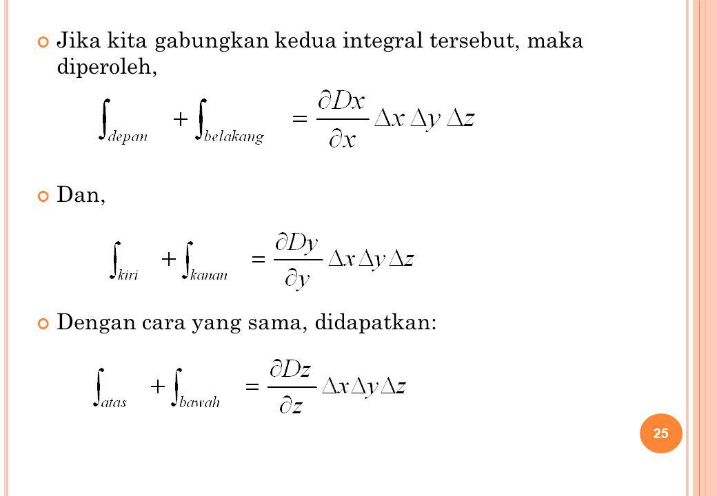 Jika kita gabungkan kedua integral tersebut, maka diperoleh,