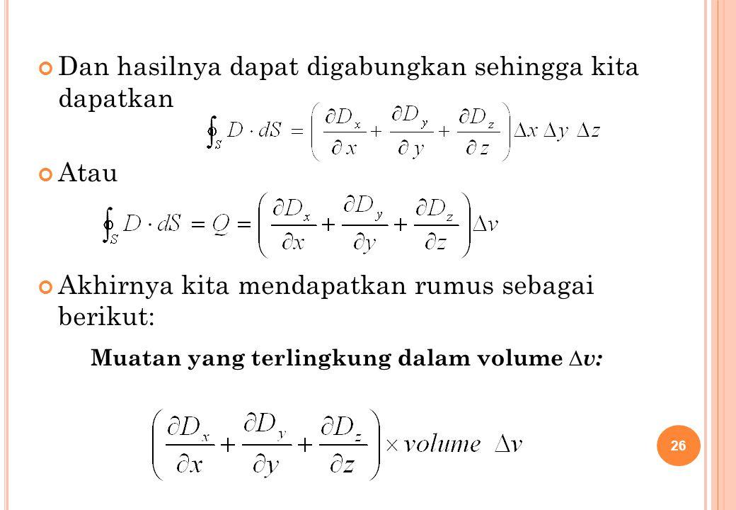 Muatan yang terlingkung dalam volume ∆v: