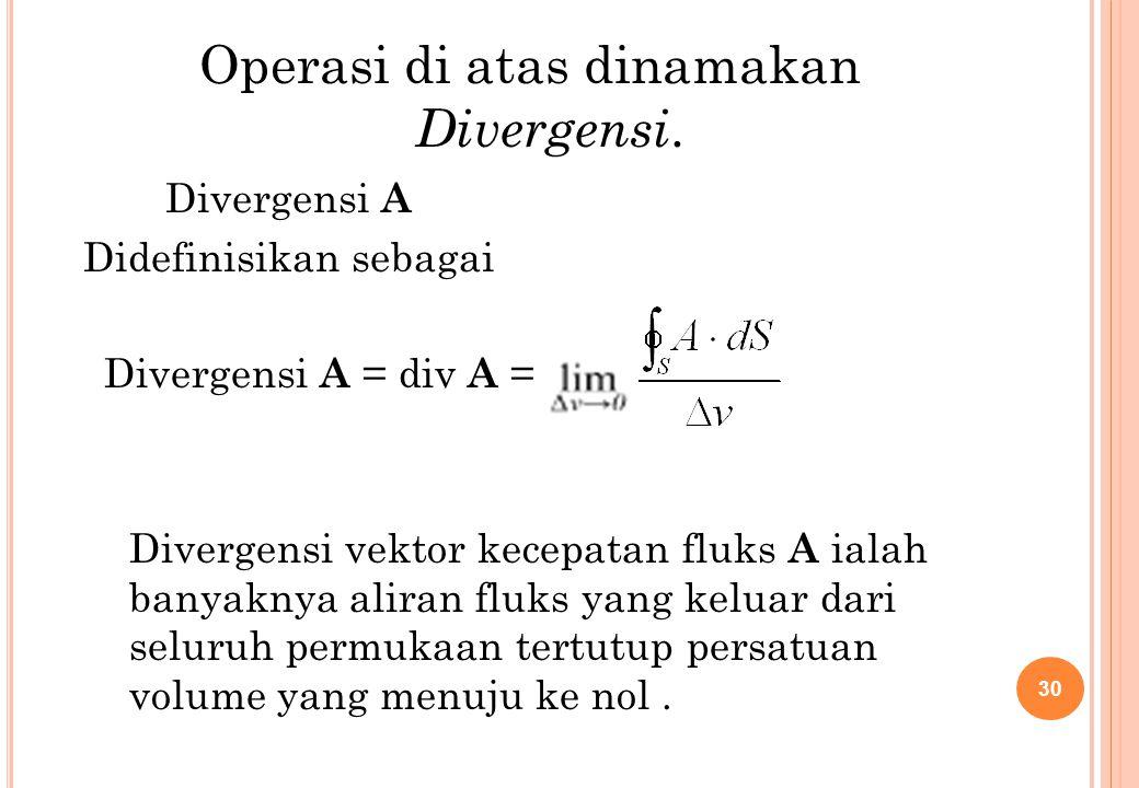 Operasi di atas dinamakan Divergensi.