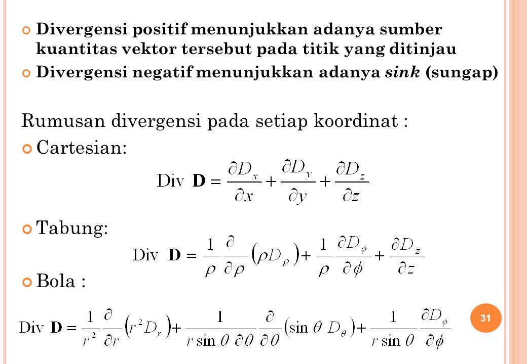 Rumusan divergensi pada setiap koordinat : Cartesian: