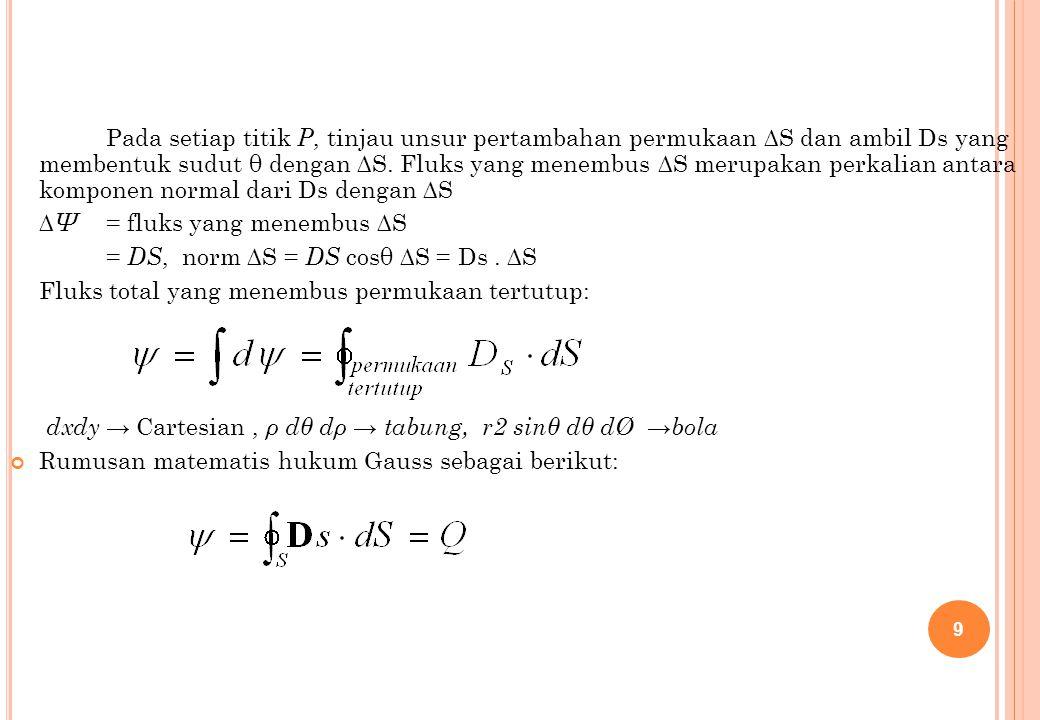 Pada setiap titik P, tinjau unsur pertambahan permukaan ∆S dan ambil Ds yang membentuk sudut θ dengan ∆S. Fluks yang menembus ∆S merupakan perkalian antara komponen normal dari Ds dengan ∆S