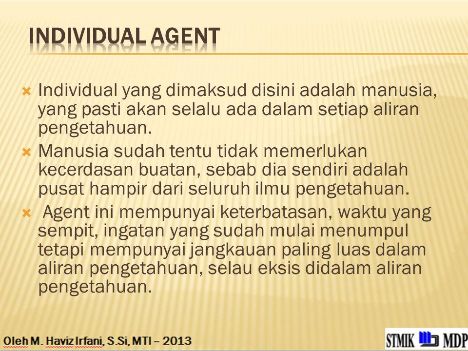 Individual agent Individual yang dimaksud disini adalah manusia, yang pasti akan selalu ada dalam setiap aliran pengetahuan.