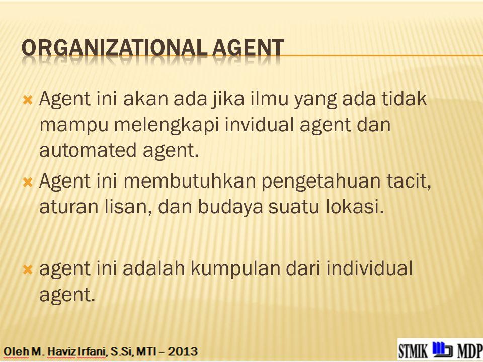 Organizational agent Agent ini akan ada jika ilmu yang ada tidak mampu melengkapi invidual agent dan automated agent.