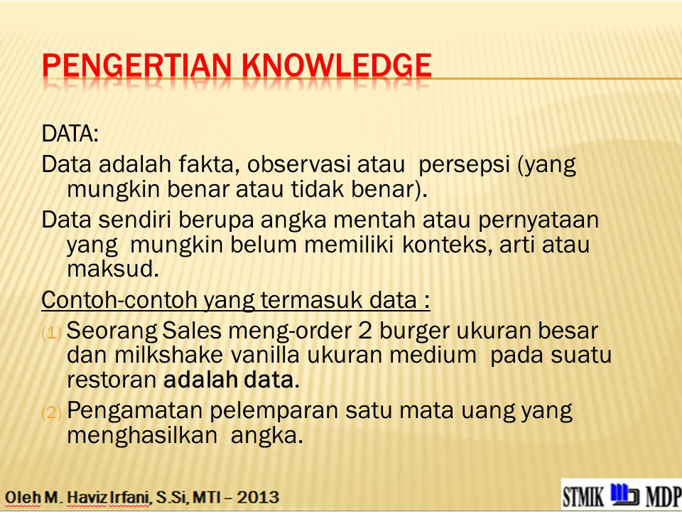 Pengertian Knowledge DATA: