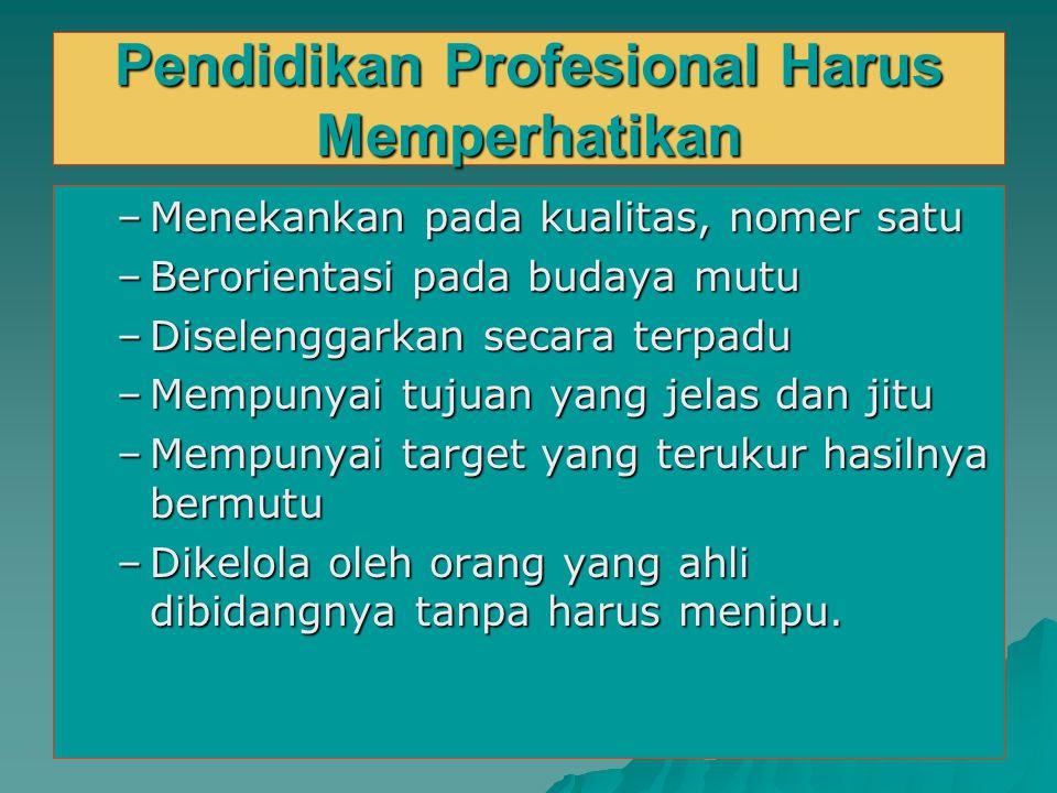 Pendidikan Profesional Harus Memperhatikan
