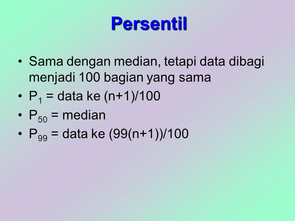 Persentil Sama dengan median, tetapi data dibagi menjadi 100 bagian yang sama. P1 = data ke (n+1)/100.
