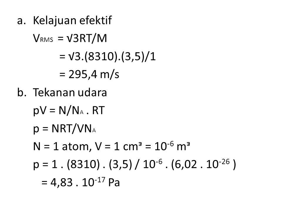 Kelajuan efektif VRMS = √3RT/M. = √3.(8310).(3,5)/1. = 295,4 m/s. Tekanan udara. pV = N/NA . RT.