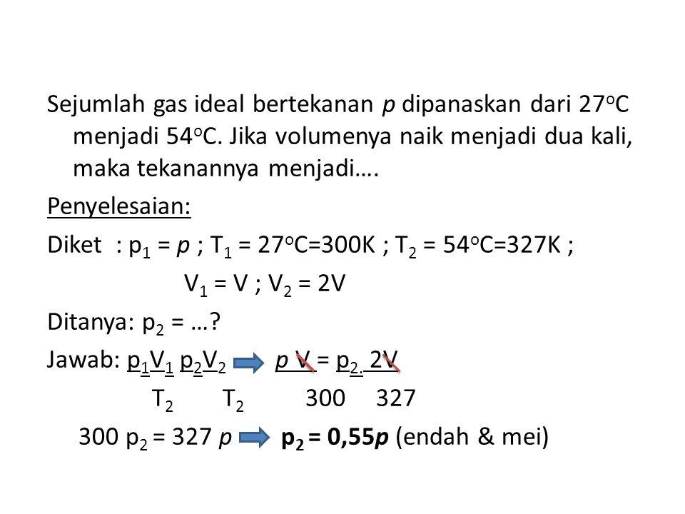 Sejumlah gas ideal bertekanan p dipanaskan dari 27oC menjadi 54oC