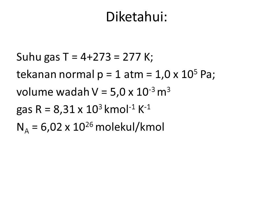 Diketahui: Suhu gas T = 4+273 = 277 K;