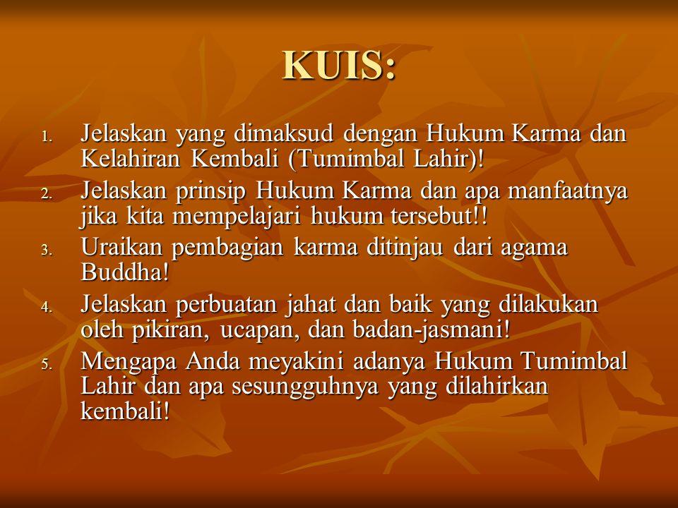 KUIS: Jelaskan yang dimaksud dengan Hukum Karma dan Kelahiran Kembali (Tumimbal Lahir)!
