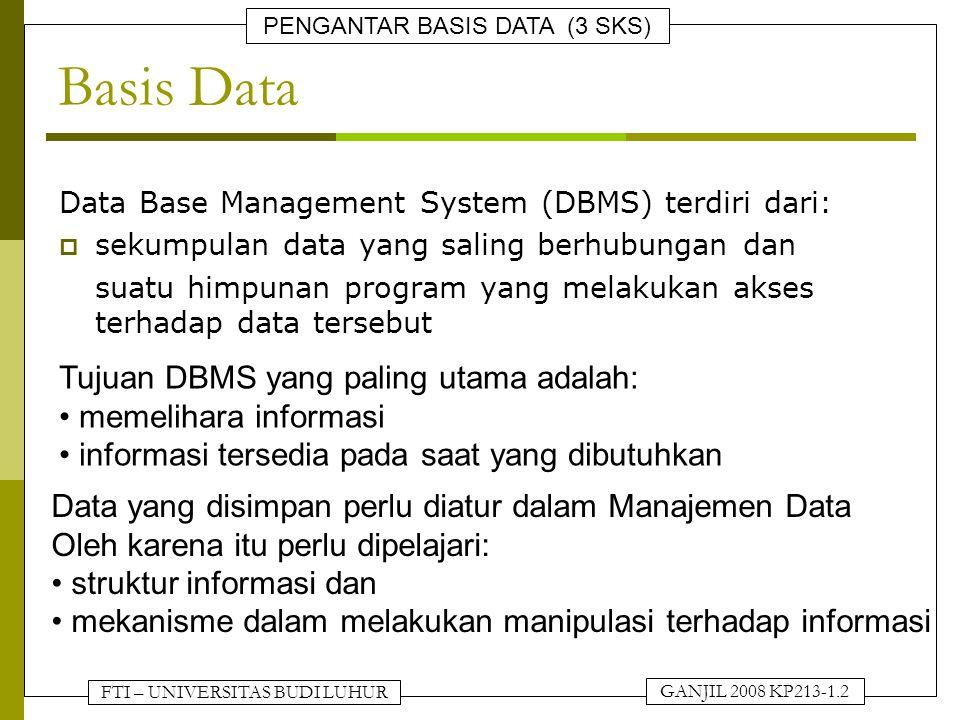 Basis Data Tujuan DBMS yang paling utama adalah: memelihara informasi
