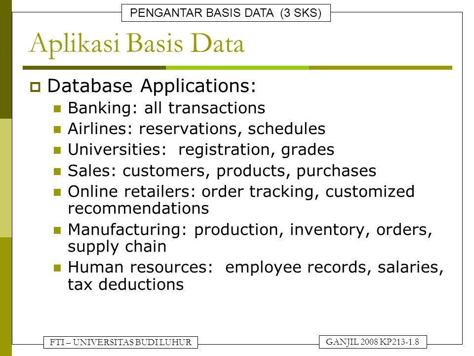 Aplikasi Basis Data Database Applications: Banking: all transactions