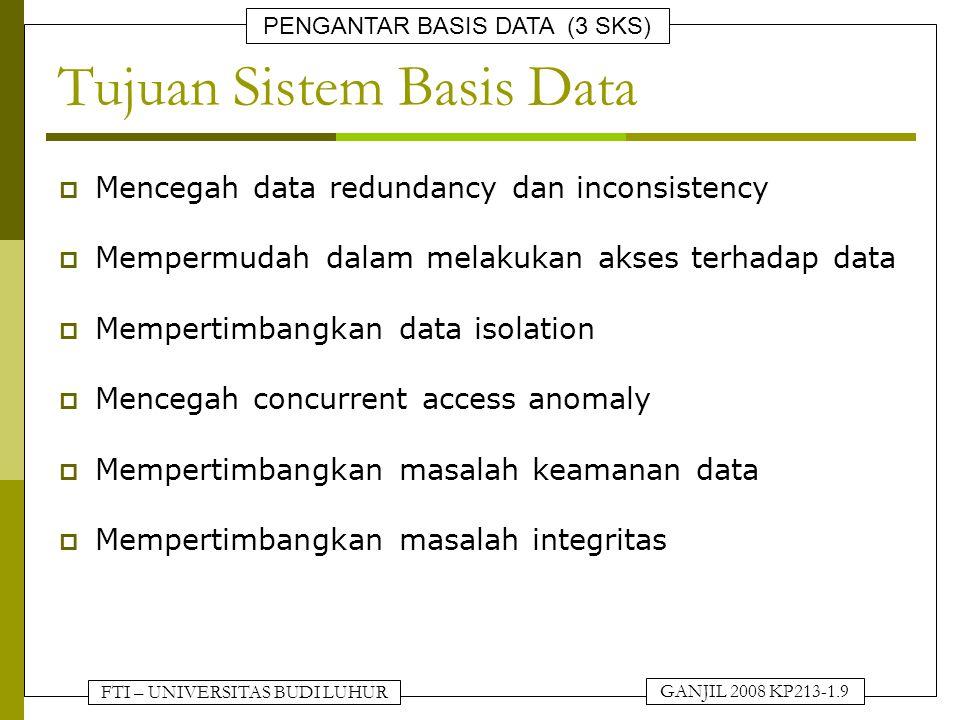 Tujuan Sistem Basis Data