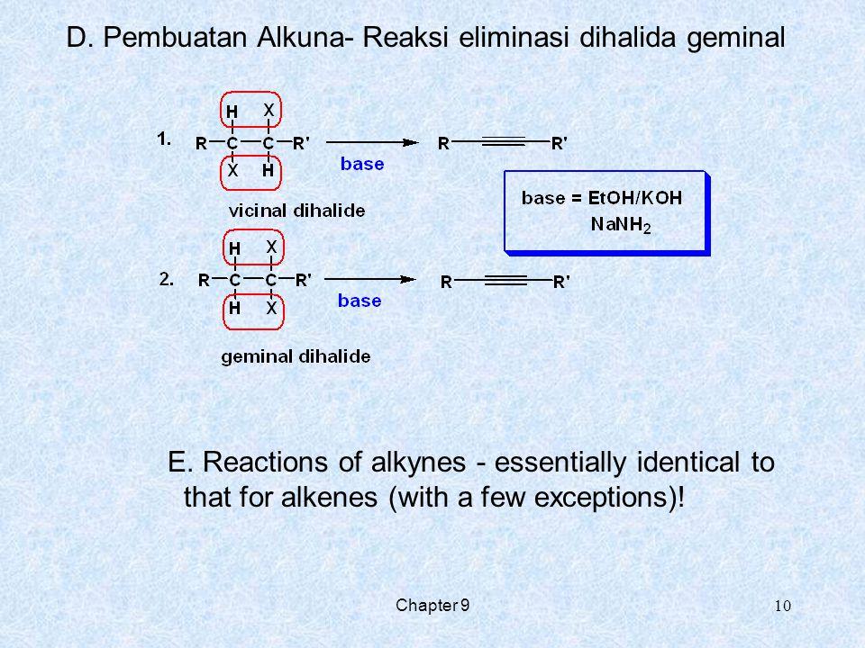 D. Pembuatan Alkuna- Reaksi eliminasi dihalida geminal