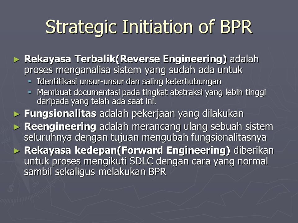 Strategic Initiation of BPR