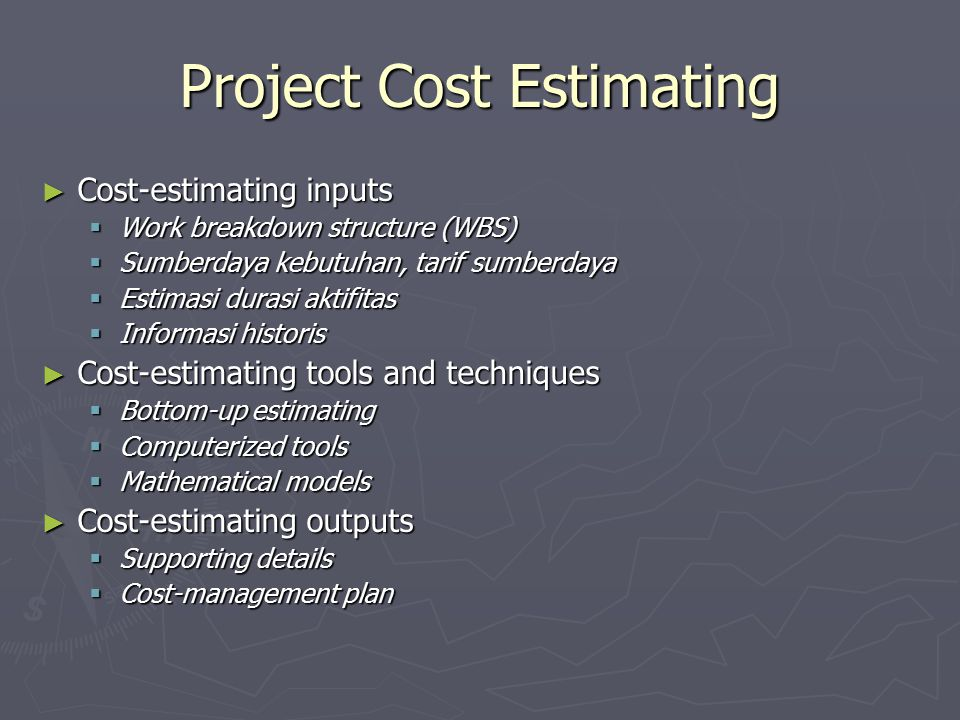 Project Cost Estimating