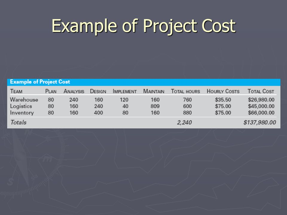 Example of Project Cost