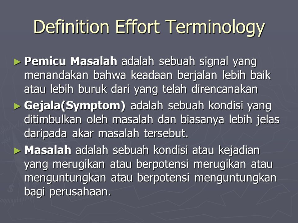 Definition Effort Terminology