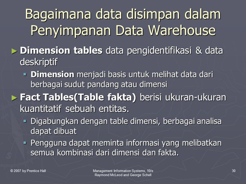 Bagaimana data disimpan dalam Penyimpanan Data Warehouse