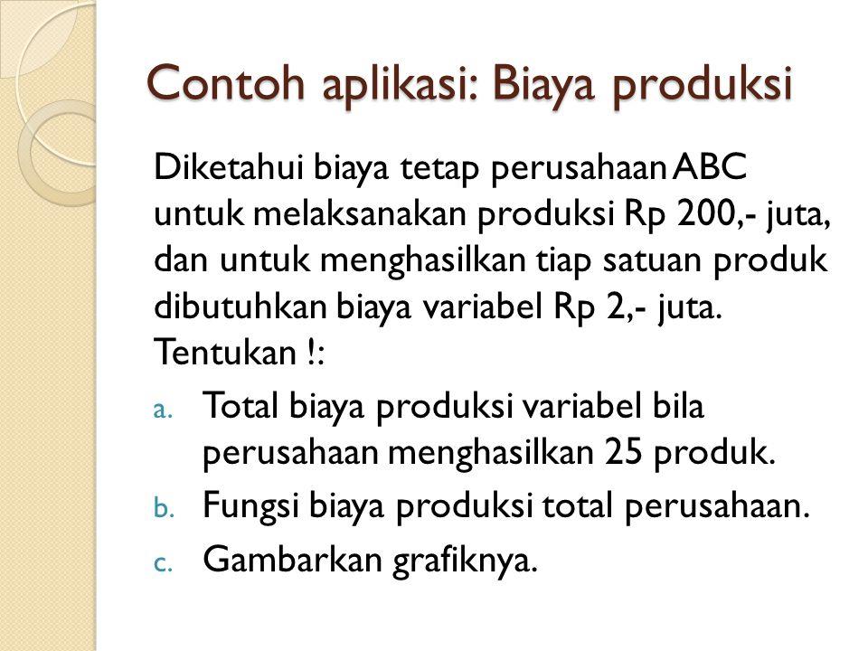Contoh aplikasi: Biaya produksi