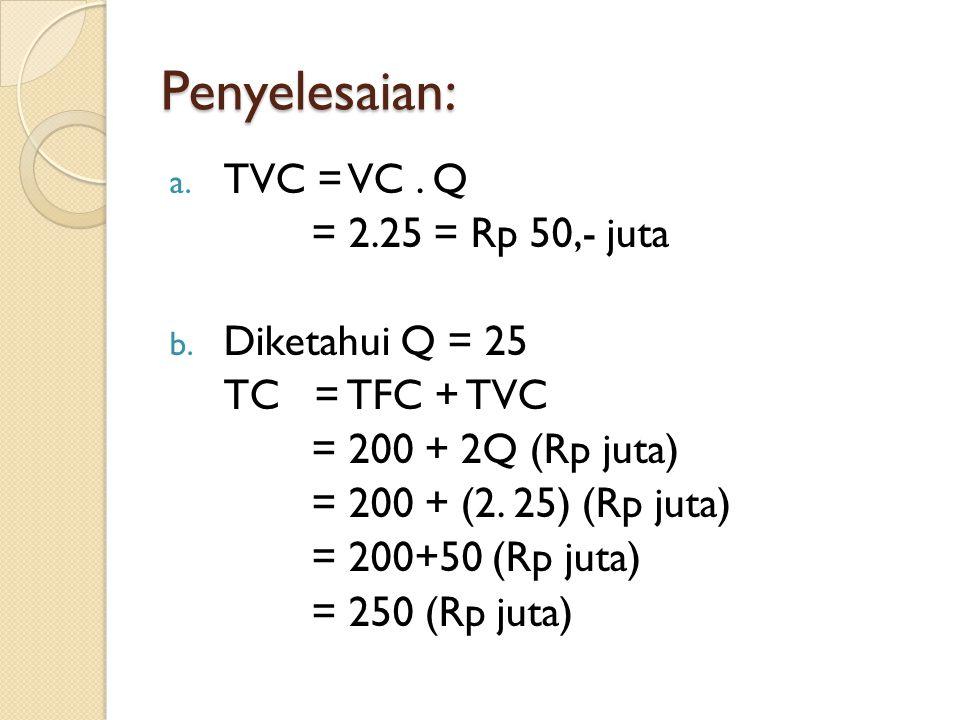 Penyelesaian: TVC = VC . Q = 2.25 = Rp 50,- juta Diketahui Q = 25