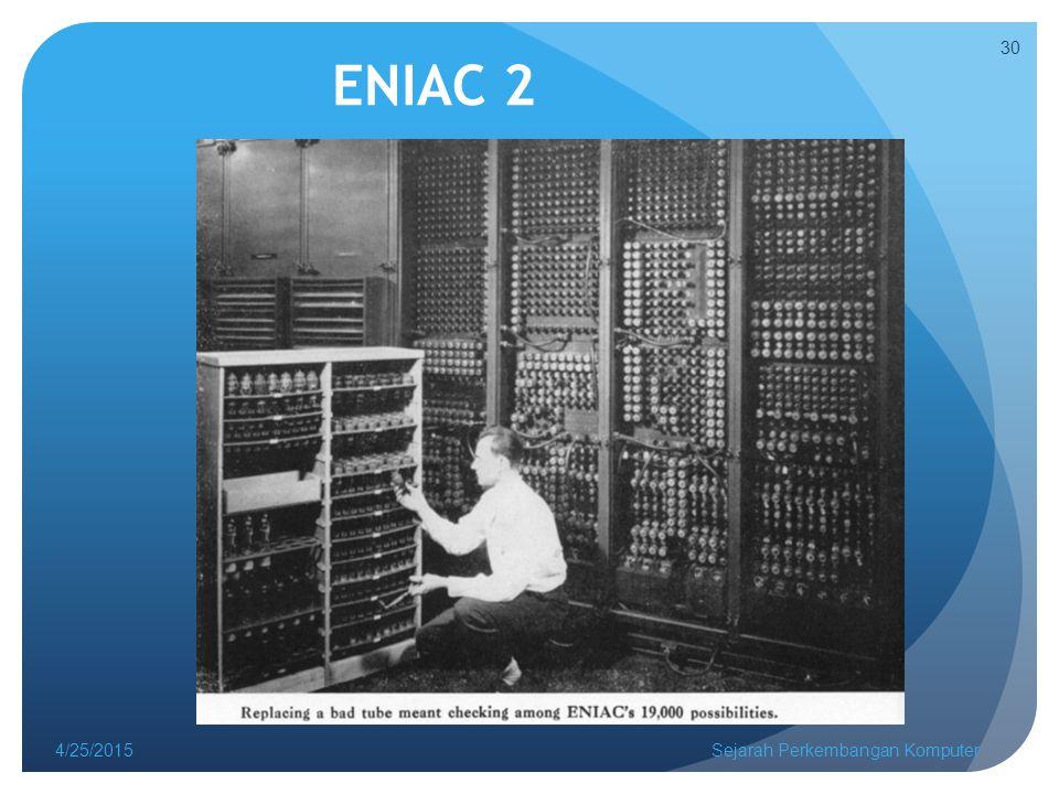 ENIAC 2 4/14/2017 Sejarah Perkembangan Komputer