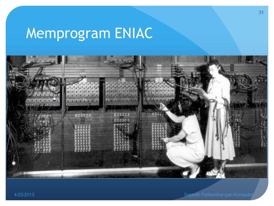 Memprogram ENIAC 4/14/2017 Sejarah Perkembangan Komputer