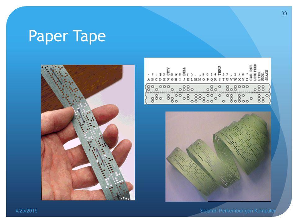 Paper Tape 4/14/2017 Sejarah Perkembangan Komputer