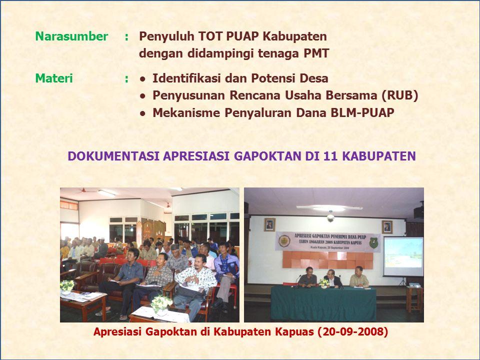Apresiasi Gapoktan di Kabupaten Kapuas (20-09-2008)