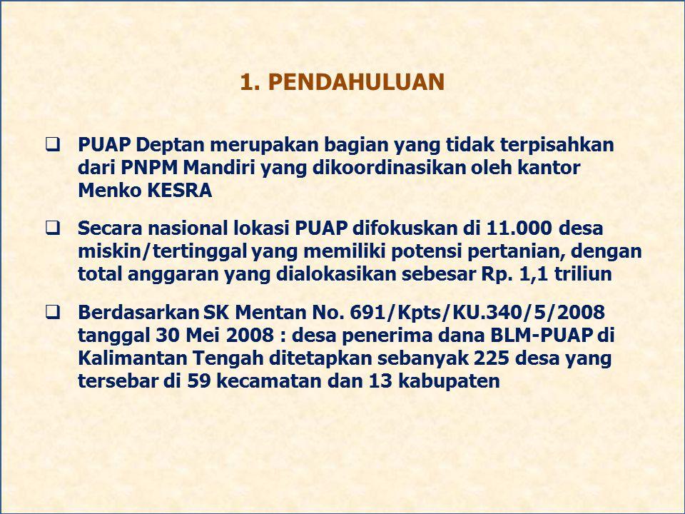 1. PENDAHULUAN PUAP Deptan merupakan bagian yang tidak terpisahkan dari PNPM Mandiri yang dikoordinasikan oleh kantor Menko KESRA.