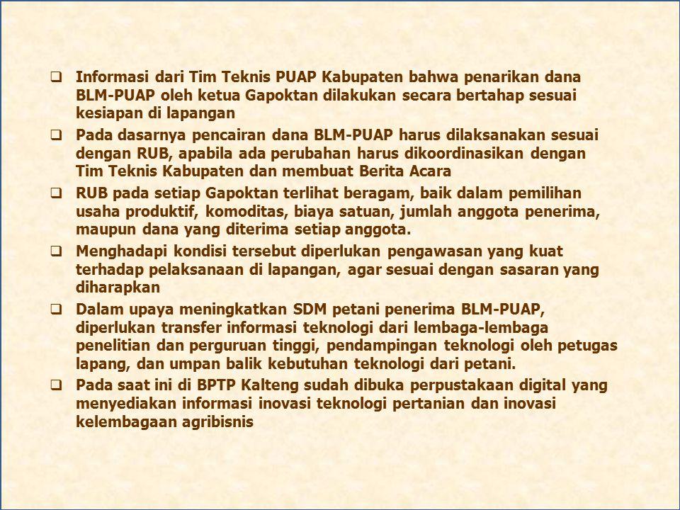 Informasi dari Tim Teknis PUAP Kabupaten bahwa penarikan dana BLM-PUAP oleh ketua Gapoktan dilakukan secara bertahap sesuai kesiapan di lapangan