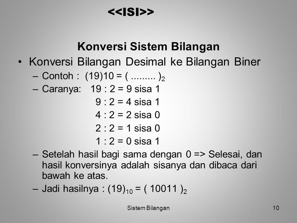 Konversi Sistem Bilangan