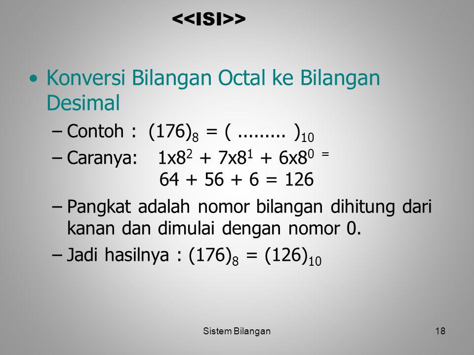 Konversi Bilangan Octal ke Bilangan Desimal