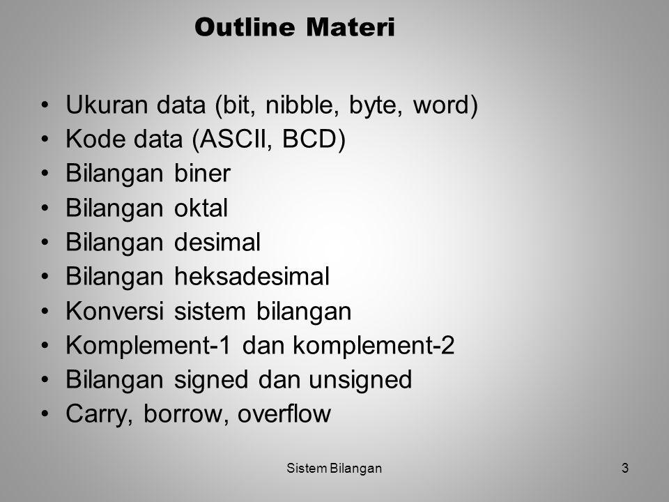 Ukuran data (bit, nibble, byte, word) Kode data (ASCII, BCD)