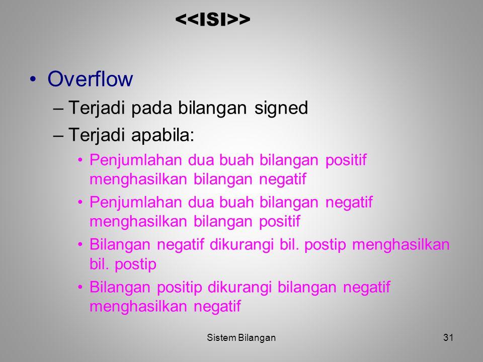 Overflow <<ISI>> Terjadi pada bilangan signed