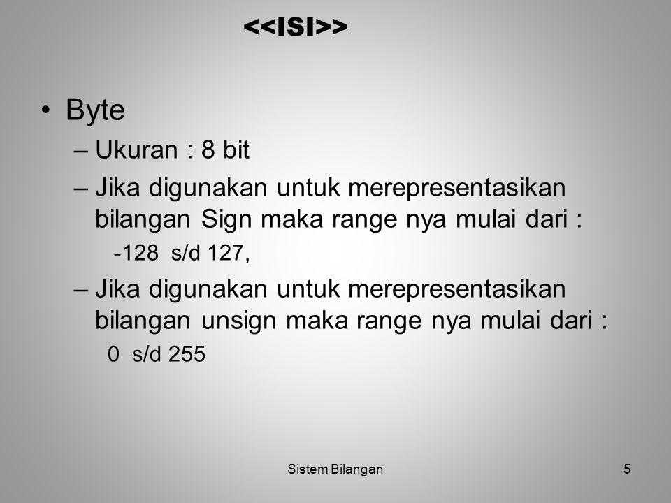 Byte <<ISI>> Ukuran : 8 bit