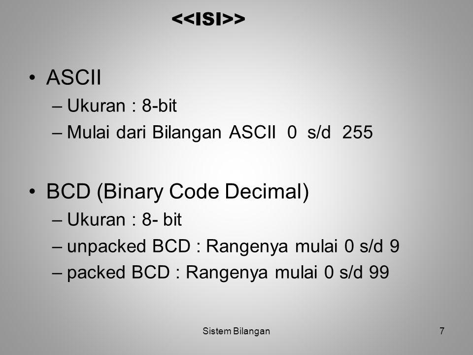 BCD (Binary Code Decimal)