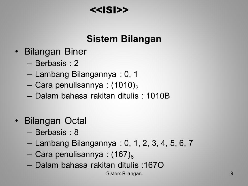 <<ISI>> Sistem Bilangan Bilangan Biner Bilangan Octal
