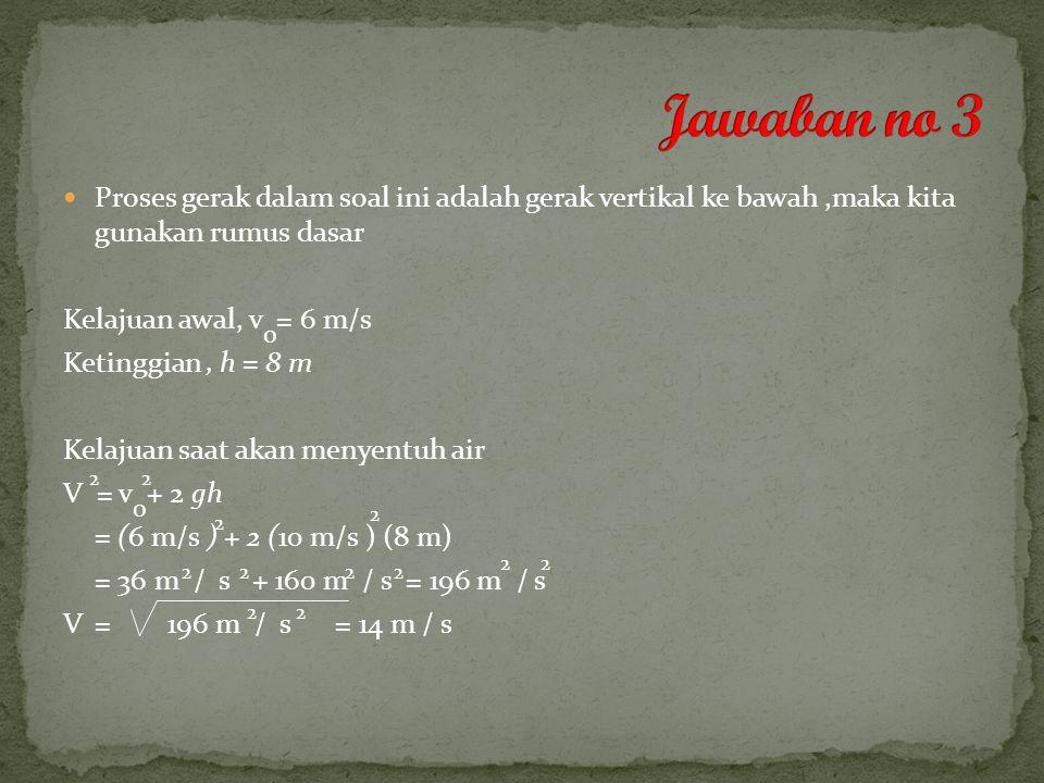 Jawaban no 3 Proses gerak dalam soal ini adalah gerak vertikal ke bawah ,maka kita gunakan rumus dasar.