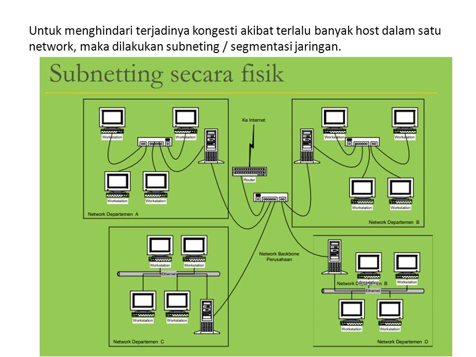 Untuk menghindari terjadinya kongesti akibat terlalu banyak host dalam satu network, maka dilakukan subneting / segmentasi jaringan.