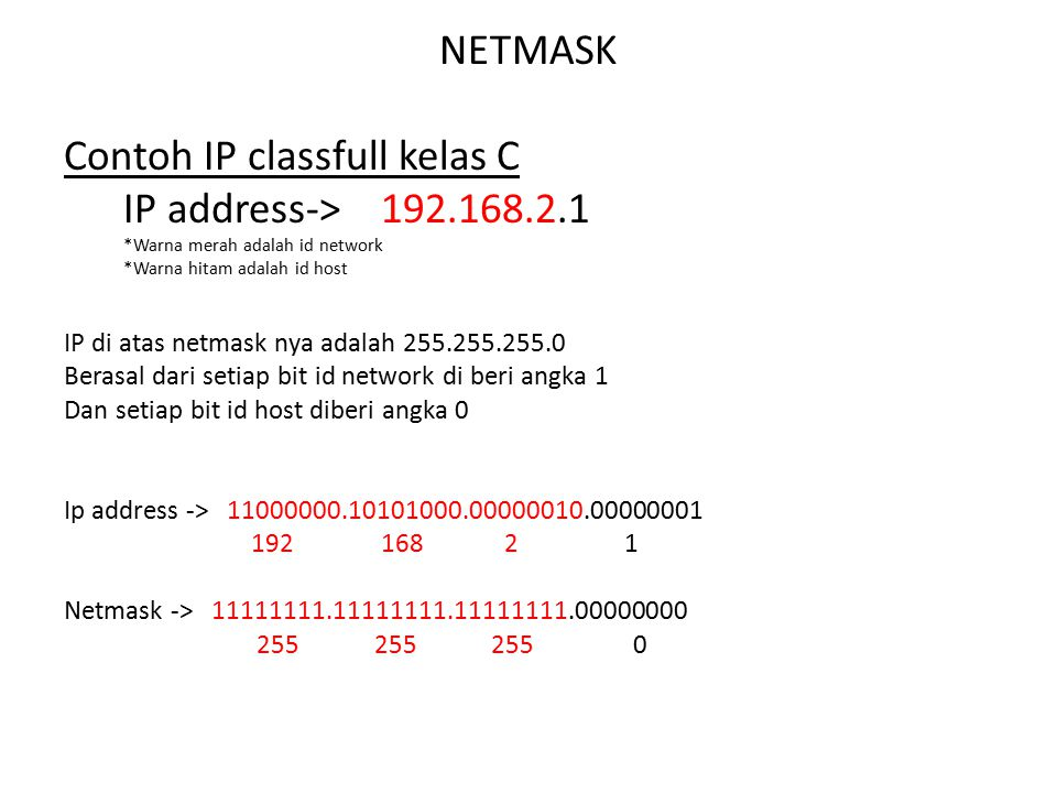 Contoh IP classfull kelas C IP address-> 192.168.2.1